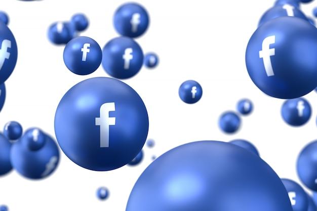 Reacciones de facebook emoji 3d render foto premium, símbolo de globo de redes sociales con patrón de iconos de facebook