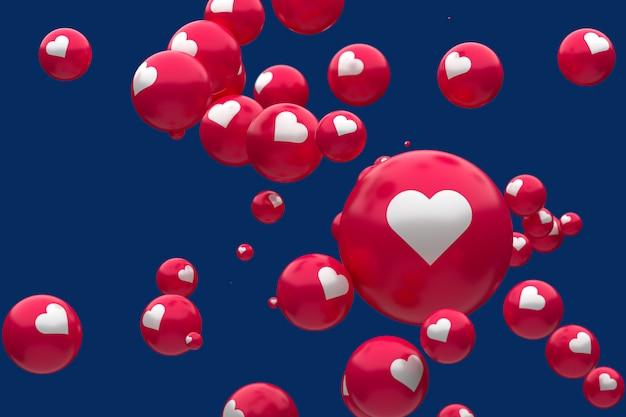 Reacciones de facebook emoji 3d render, símbolo de globo de redes sociales con corazón