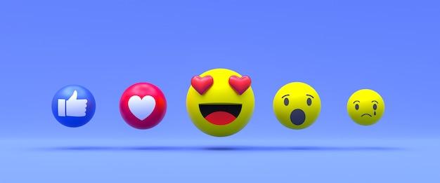Reacciones de facebook emoji 3d render, símbolo de globo de redes sociales con facebook