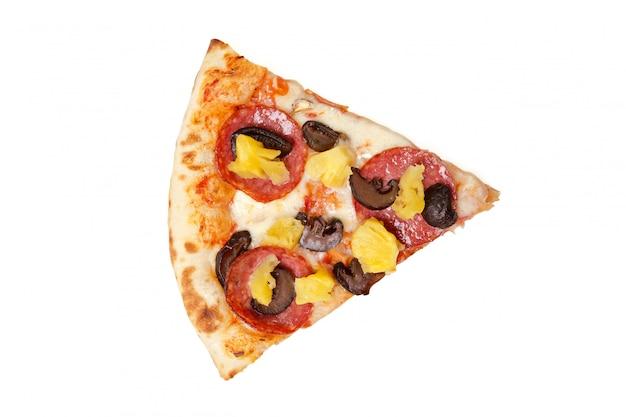 Rebanada de pizza aislado en la vista superior blanca
