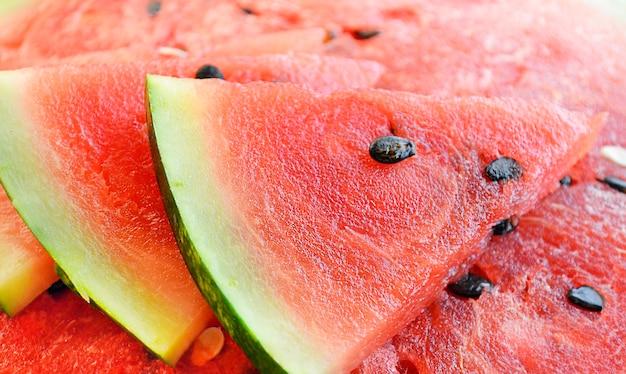 Rebanadas de frutas maduras sandía roja dulce fresca