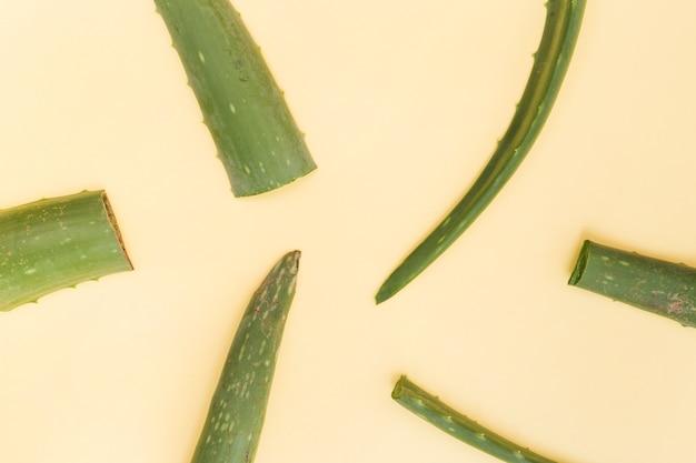Rebanadas de hojas de aloe vera sobre fondo beige