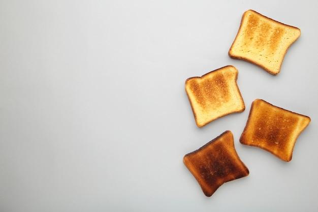 Rebanadas de pan tostado, vista superior
