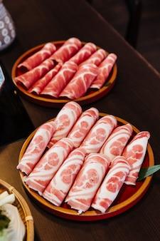 Rebanadas raras premium cerdo kurobuta