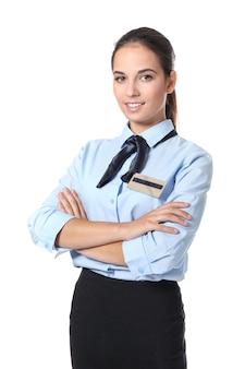 Recepcionista de hotel femenino en uniforme en el espacio en blanco