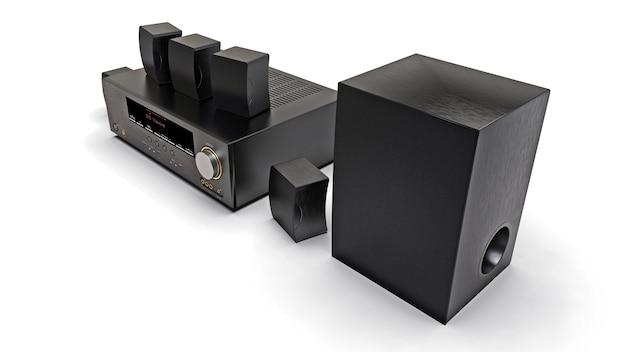 Receptor de dvd negro y sistema de cine en casa con altavoces y subwoofer. ilustración 3d.