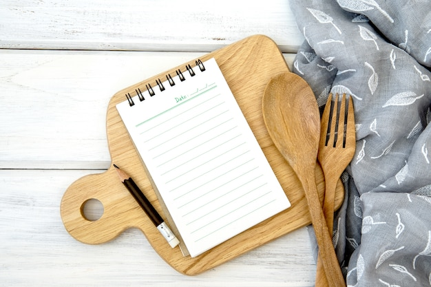 Recetas de alimentos para hábitos saludables tiro concepto de fondo de la nota