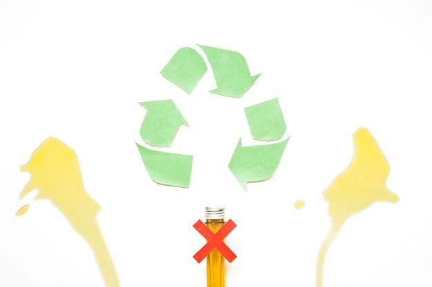 Reciclar signo con manchas de aceite y cápsula