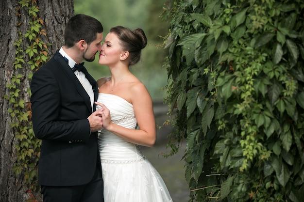 Recién casados besándose al atardecer