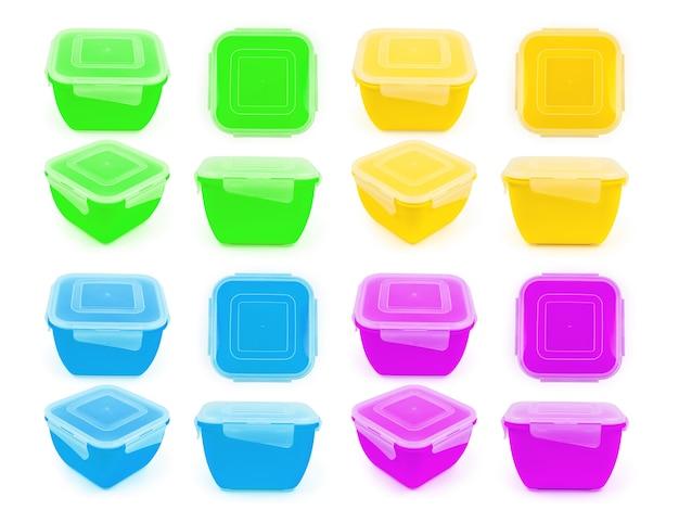 Recipiente de plástico para alimentos en colores amarillo, azul, verde y morado en diferentes proyecciones aisladas