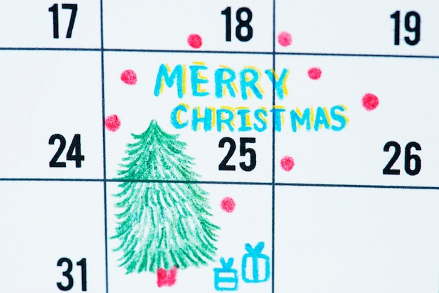 Recordatorio de calendario de vacaciones de navidad