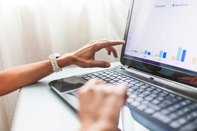 Recortar las manos usando la computadora portátil en la oficina