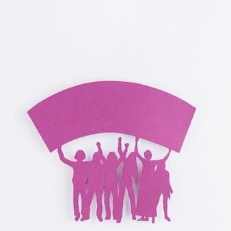 Recorte de figuras femeninas en papel
