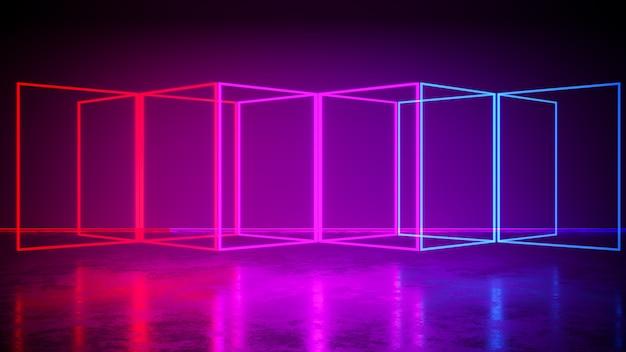 Rectángulo de luz de neón con fondo negro y piso de concreto, ultravioleta, render 3d