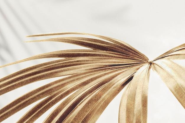 Recurso de diseño de fondo de hojas de palma dorada