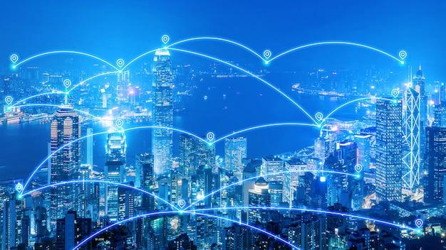 Red de comunicación de ciudad inteligente e internet de cosas para ciudad inteligente y big data