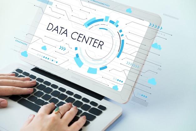 Red de datos de almacenamiento de computación en la nube Foto gratis