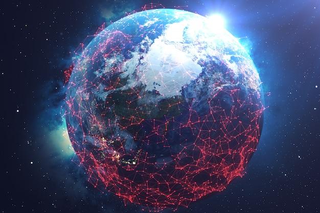 Red e intercambio de datos sobre el planeta tierra en el espacio.