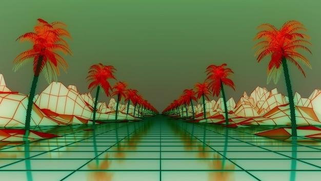 Red de estructura alámbrica syntwave. palmeras alrededor de la carretera. paisaje de retrowave, renderizado 3d.