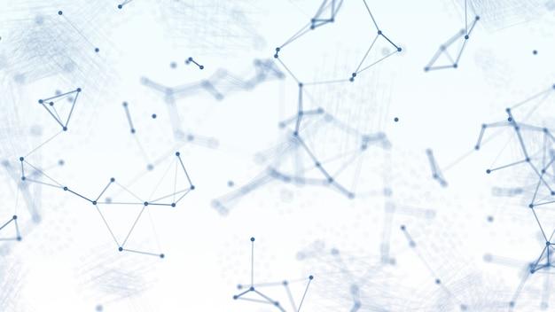 Red de estructura metálica de geometría borrosa azul abstracto 3d y punto de conexión