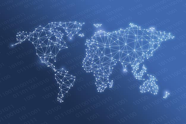 Red global en el mapa mundial de tecnología y concepto futuro Foto Premium