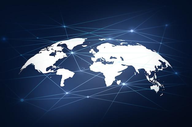 Red global en el mapa mundial de tecnología y concepto futuro