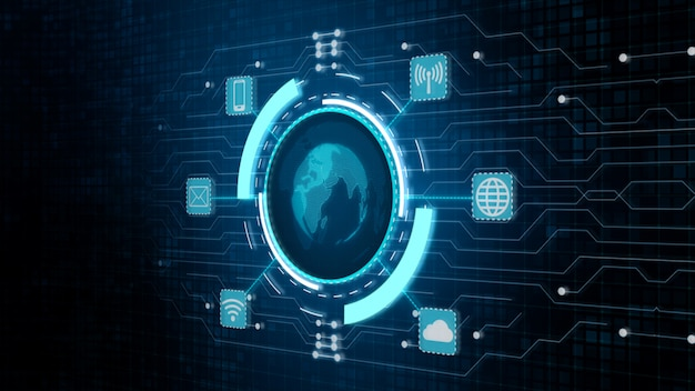 Red global segura, tecnología de red y concepto de seguridad cibernética.