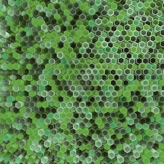 Una red de hexágonos de color verde, que cambian la altura del fondo.