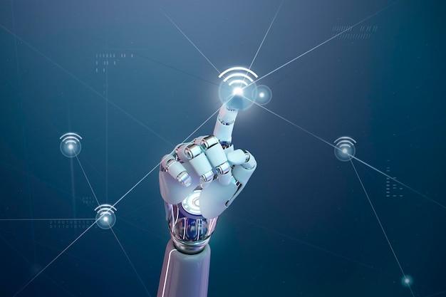 Red inalámbrica futurista 5g, toque de mano de robot ai en el icono de wifi
