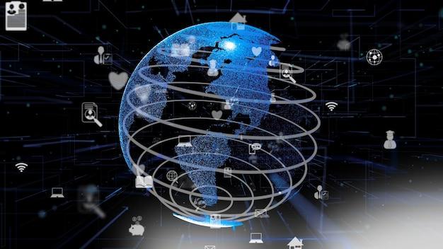 Red de internet en línea futurista e internet de las cosas concepto iot