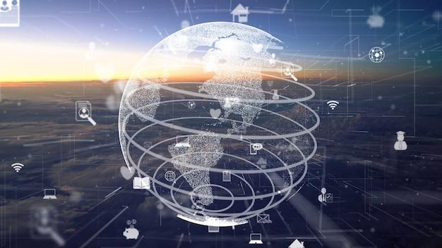 Red de modernización de conexiones sobre nubes en el cielo