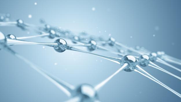 Una red de moléculas y átomos de vidrio y cristales.