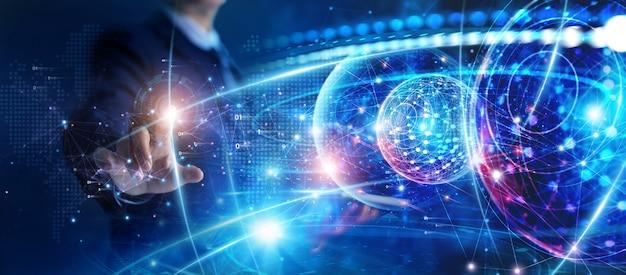 Red de negocios global el empresario toca la red global y los intercambios de datos de big data