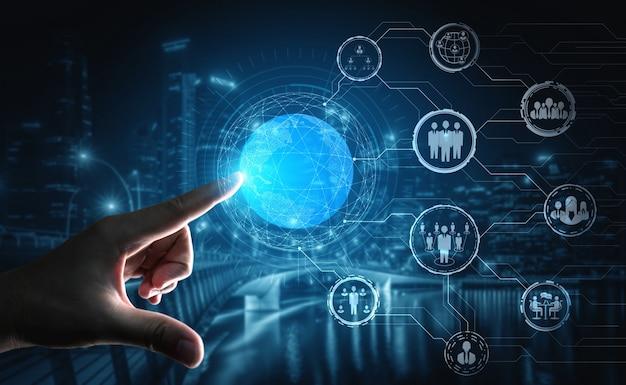 Red de personas y concepto de comunicación global