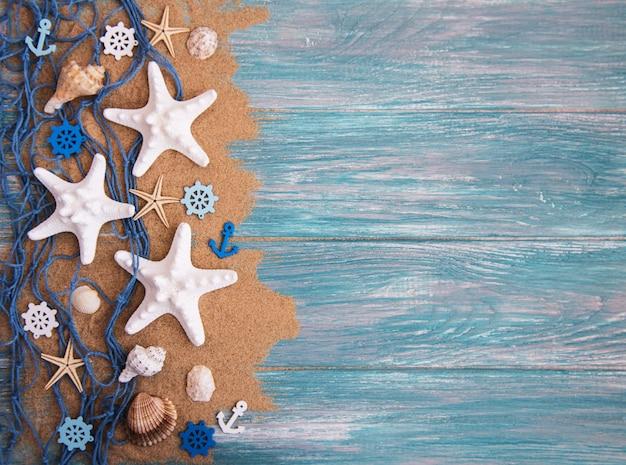 Red de pesca con estrella de mar.
