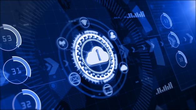 Red segura de datos, computación digital en la nube, concepto de seguridad cibernética.