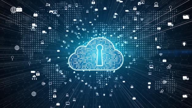 Red segura de datos digitales. concepto de ciberseguridad de computación digital en la nube