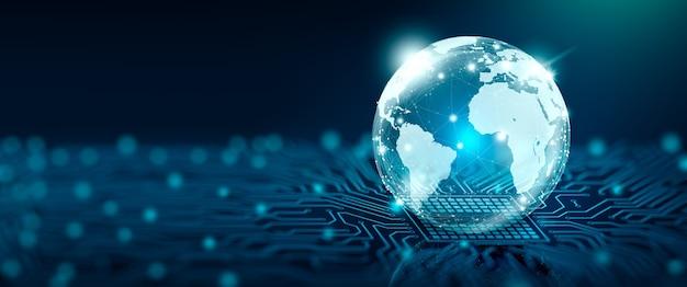 Red social global y concepto de conexión empresarial mundo digital en el punto de convergencia
