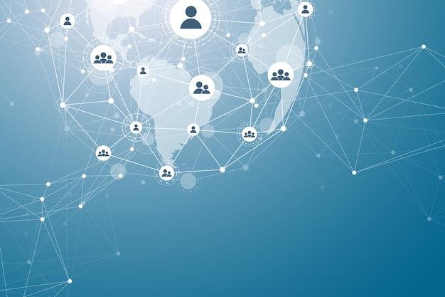 Red social de visualización de datos grandes o representación de análisis de negocios gráficos abstractos futuris ...