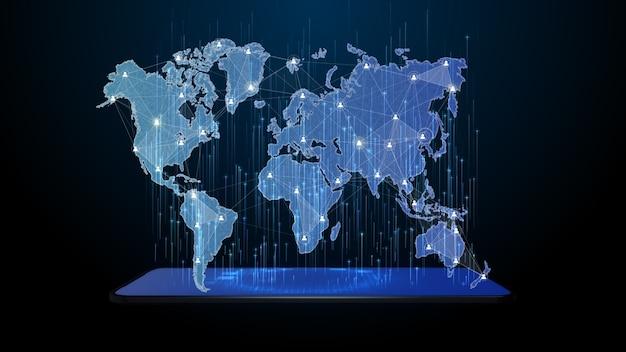 La red de tecnología conecta la comunicación con el teléfono inteligente