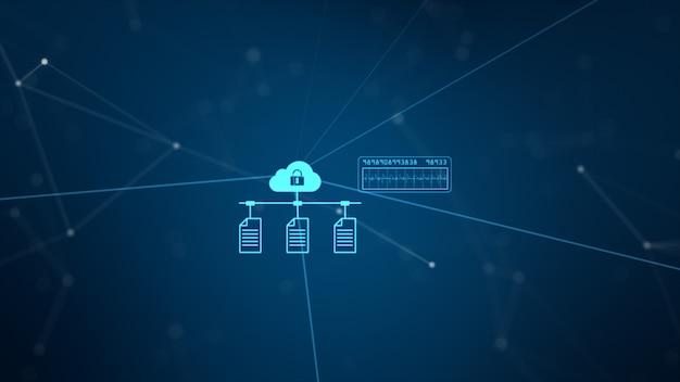 Red de tecnología y conexión de datos. red segura de datos e información personal.