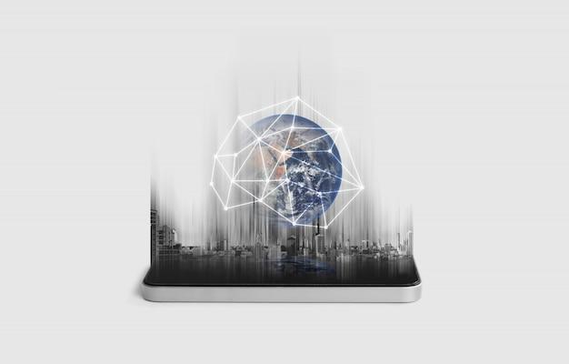 Red de telefonía móvil, comunicación y tecnología de redes globales.
