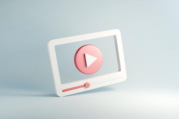Redes sociales, interfaz de reproductor multimedia de video mínima.