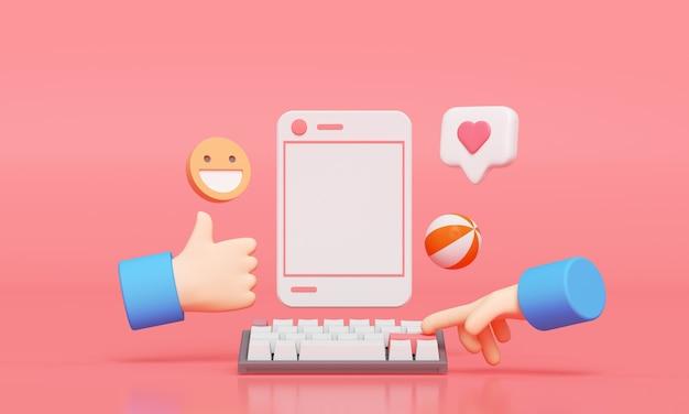 Redes sociales con marco de fotos, como botón y mano de dibujos animados. render 3d