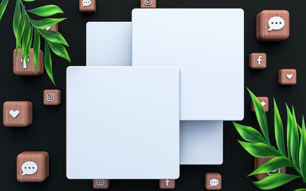 Redes sociales publicar plantilla en blanco maqueta cuadrada fondo premium vacío icono de representación 3d
