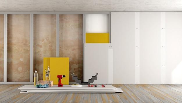 Reforma de una casa antigua con placa de yeso y material aislante. representación 3d