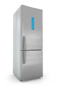 Refrigerador moderno con control de pantalla.
