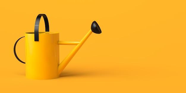 Regadera amarilla con detalles negros sobre fondo amarillo. ilustración 3d.