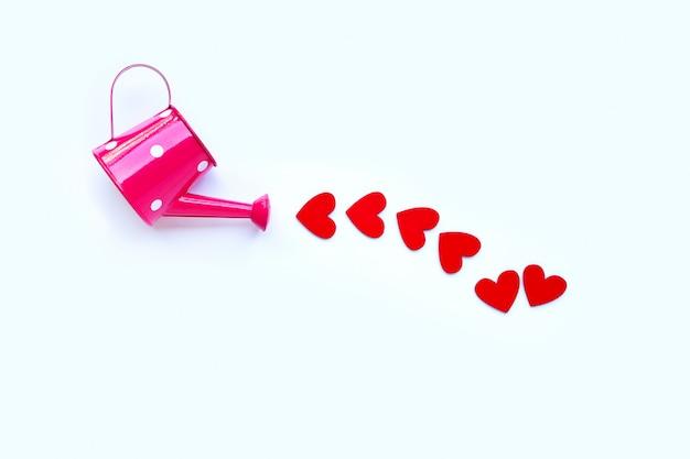 Regadera rosa con corazón de madera en forma de fondo blanco, concepto de día de san valentín