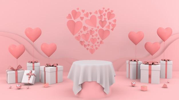 Regalos con globos en forma de corazón y mesa blanca vacía